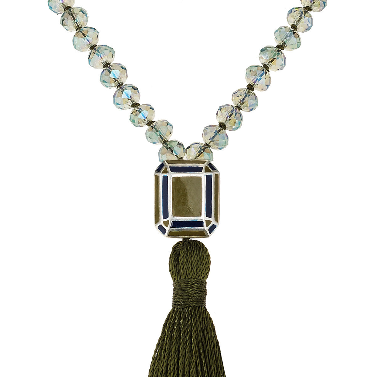 Kompoloi Necklace Rectangle Slv-Blue Green Enamel - Crystal
