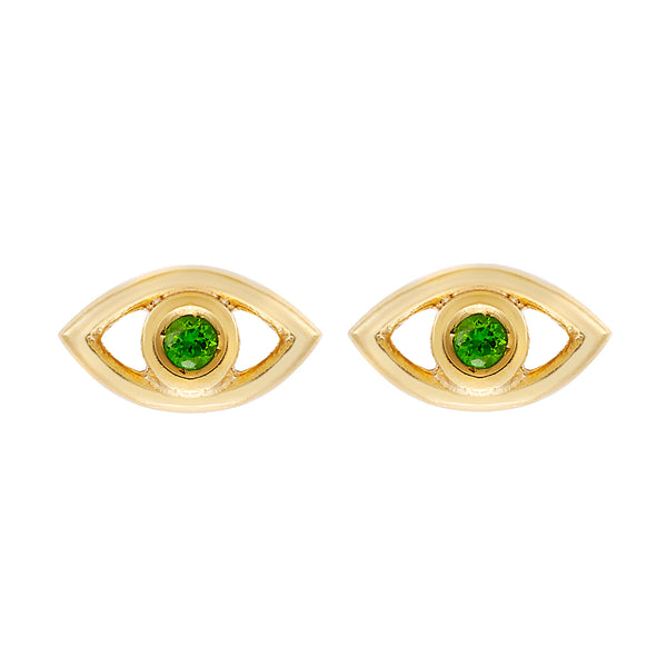 Mini Eye Studs Chrome Diopside
