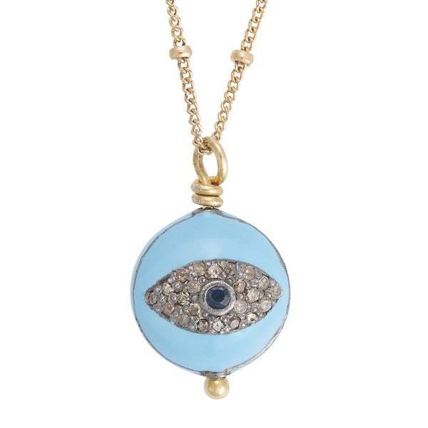 Round Double Eye Charm Necklace
