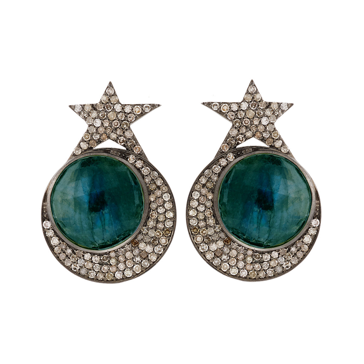 Star Moon Disc Earrings
