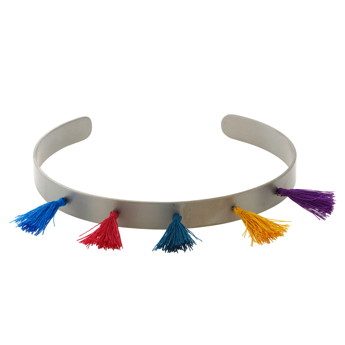 Titanium Chocker With Multi Color Tassels
