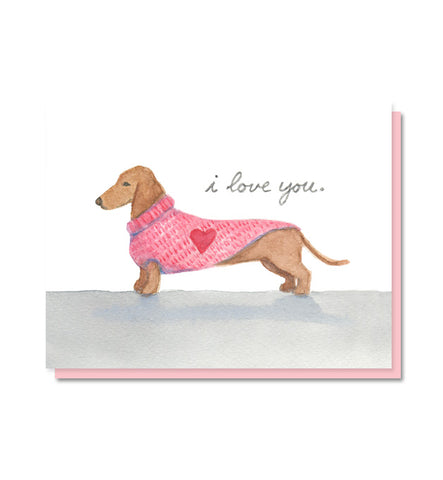 I Love You Dachshund Card