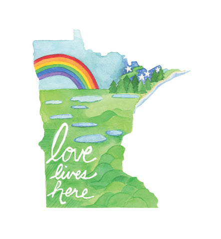 Love Lives Here Minnesota 8x10 art print