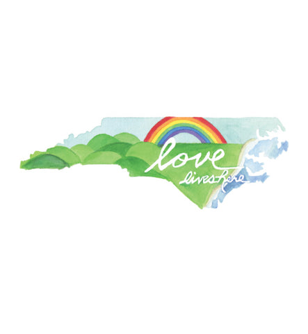 Love Lives Here North Carolina 8x10 art print