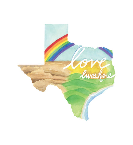 Love Lives Here Texas 8x10 art print