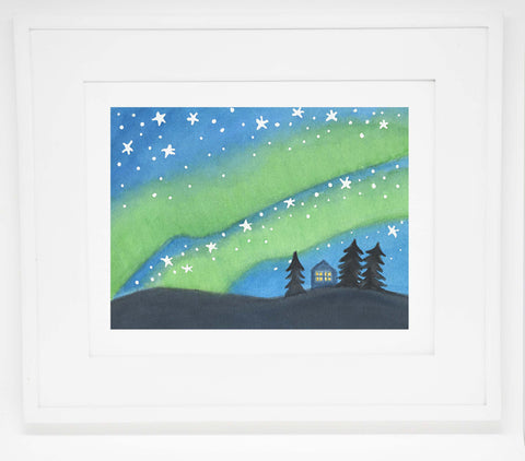 Northern Lights House Art Print -- 8x10