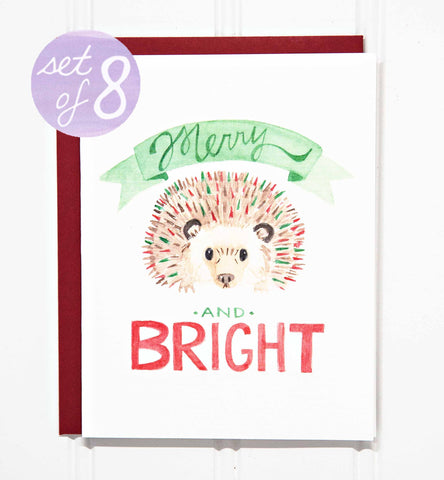 Merry & Bright Hedgehog Holiday Card - Set of 8