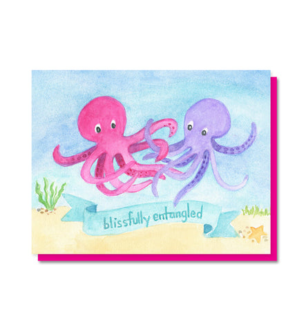 Blissfully Entangled - Octopus love, wedding, anniversary card