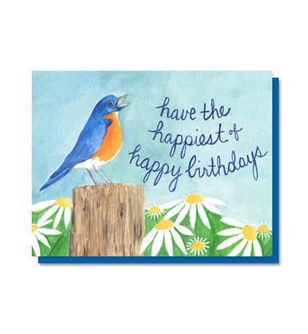 Bluebird of Happiness Birthday Card