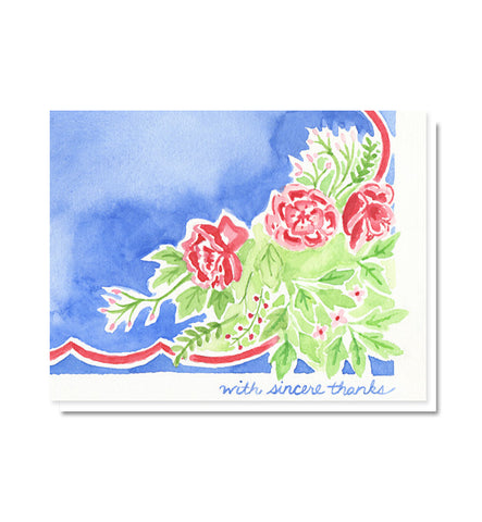 Blue Roses Vintage Linen Thank You Card