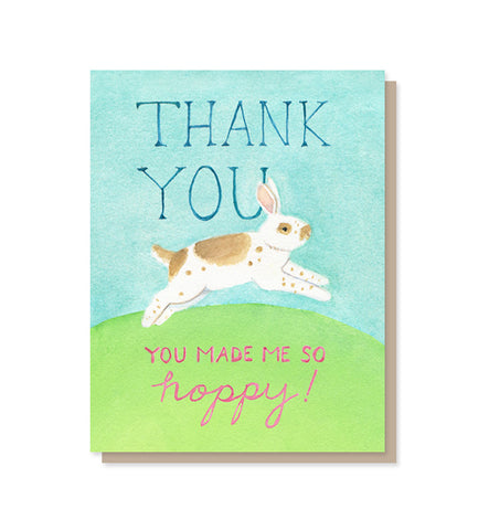 You Made Me So Hoppy Bunny Thank You Card
