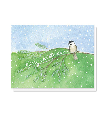 Chickadee in the Snow Christmas Card
