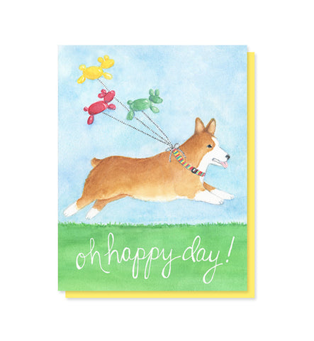 Happy Day Corgi Card