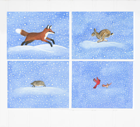 Dashing Through the Snow: Boxed Notecard Set Fox, Bunny, Cardinals, Hedgehog
