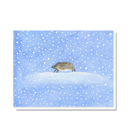 Dashing Through the Snow Hedgehog Blank Note