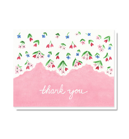 Ditsy Floral Vintage Linen Thank You Card