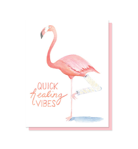 Quick Healing Vibes Flamingo Get Well Card