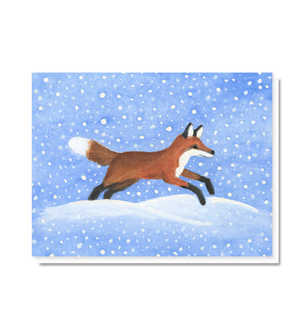 Dashing Through the Snow Fox Blank Note