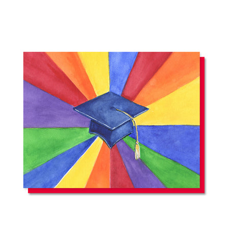 Rainbow Mortarboard Graduation Card