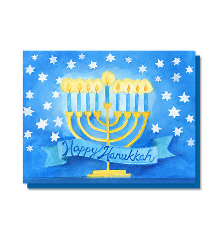 Starry Happy Hanukkah card
