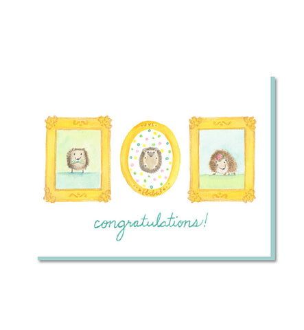 Hedgehog Family New Baby Card