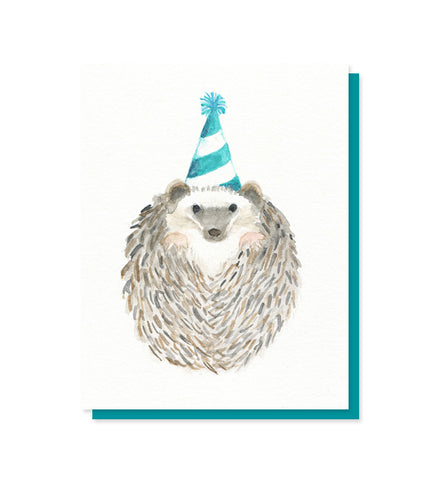 Festive hedgehog birthday card