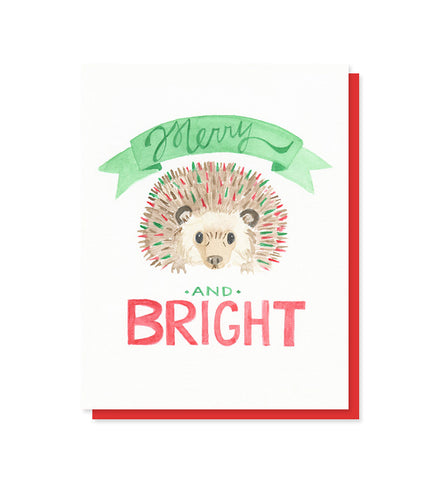 Merry & Bright Hedgehog Card - Boxed Set of 8