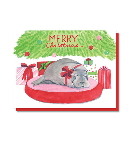 Hippopotamus for Christmas Holiday Card