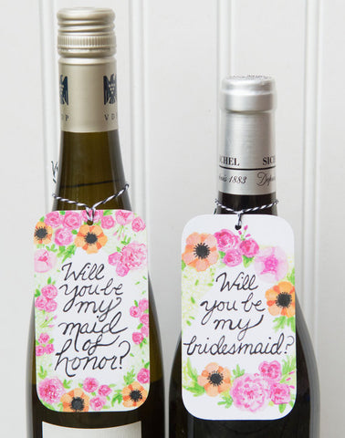 DISCONTINUED Will You Be My Bridesmaid / Will You Be My Maid-of-Honor wine bottle gift tags -set of 6