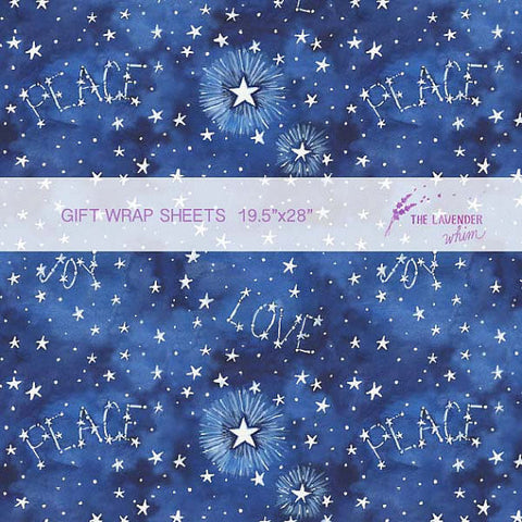 "Peace, Love, and Joy 19.5""x28"" gift wrap sheets"