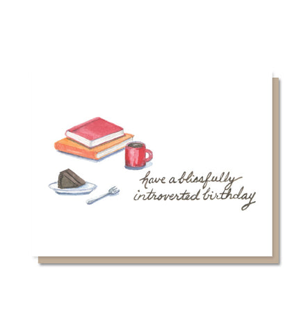 Blissfully Introverted Coffee & Books Birthday Card