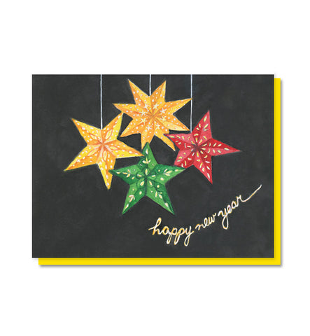 Happy New Year Star Lanterns Card