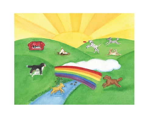 8x10 Dog Rainbow Bridge art print