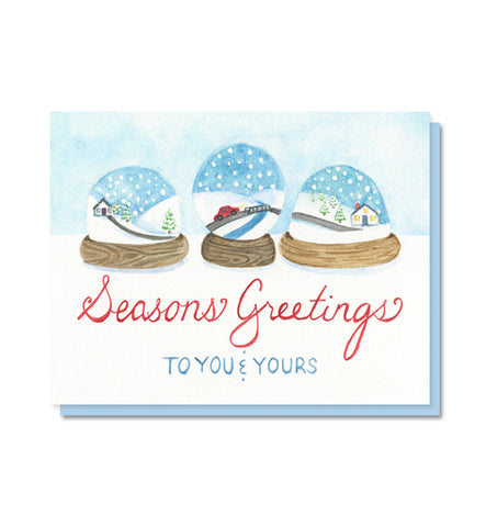 Seasons Greetings Snowglobes Holiday Christmas Card