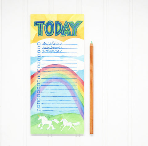Sunshine, Rainbows, and Unicorns Notepad