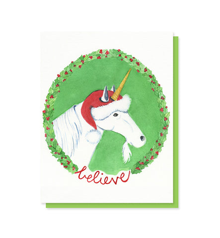 Believe Unicorn Santa Christmas Card