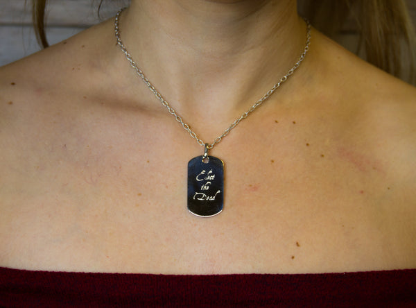 "Elect The Dead - ""Dog Tag"" - Pure Silver Pendant Dipped In 18K White Gold w/Autographed Jewelry Box"
