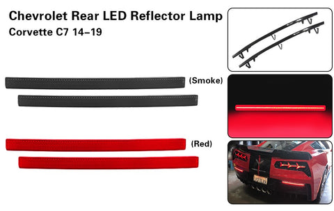 LED Rear Bumper Reflector Lights, Smoke, 2014-2019 Corvette C7
