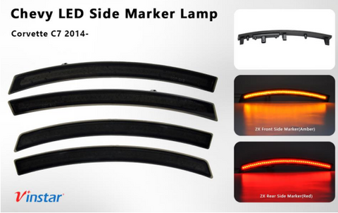 LED Side Marker Lights, Smoke, 2014-2019 Corvette C7