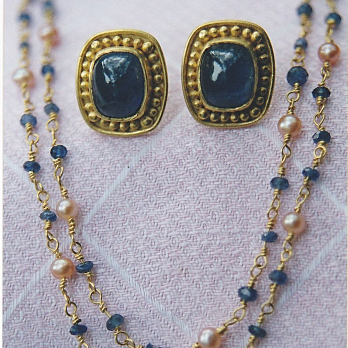 22k Gold Handmade Sapphire Earrings & Sapphire, Pearl Necklace--made to order, priced accordingly