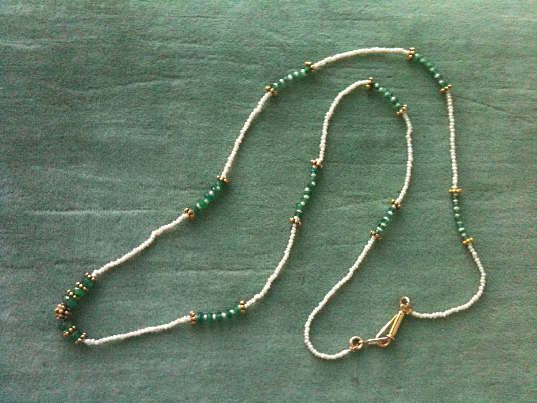 Emerald, Pearl, Gold Fill Necklace