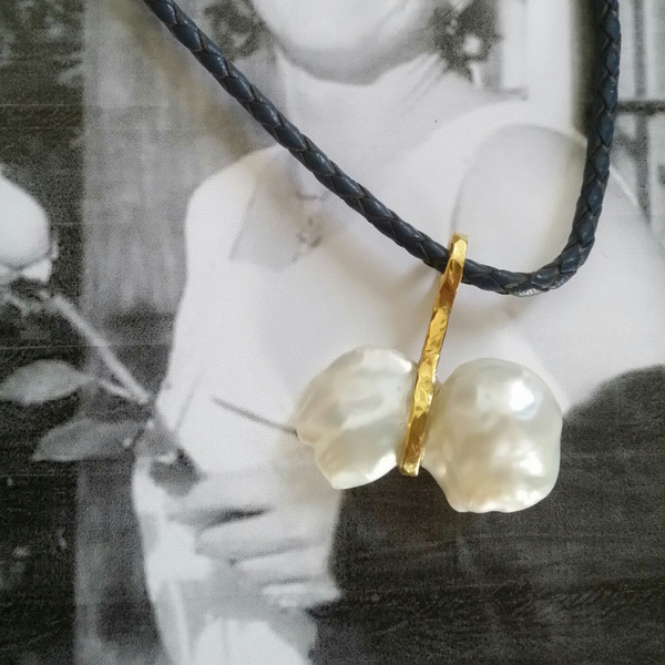 Sling Pearl Pendant, 22k gold wrap on 14k chain