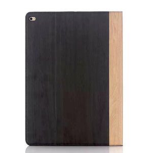 iPad Pro 9.7 Wood Finish Flip Smart Case - Black Brown - LUMBERCASE