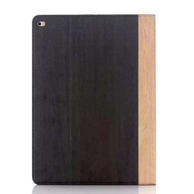 iPad Pro 12.9 Wood Finish Flip Smart Case - Black Brown - LUMBERCASE