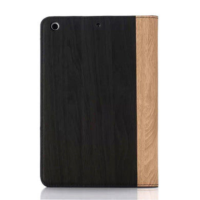 iPad mini Wood Finish Flip Smart Case - Black Brown - LUMBERCASE