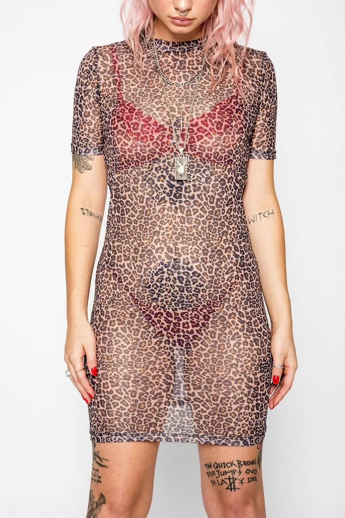 Purrfect Leopard Mesh Dress