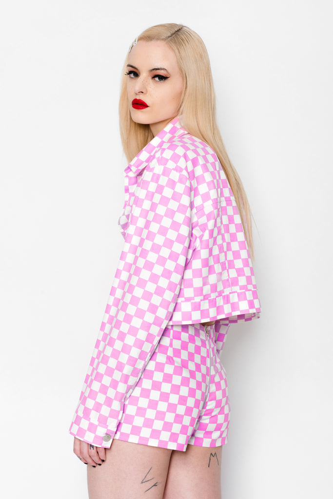 Checkered Luv Crop Jacket