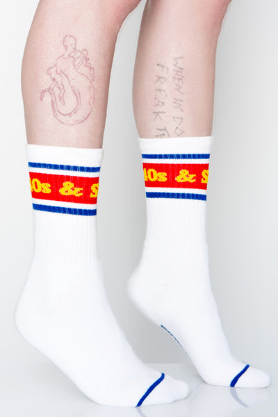 Text Logo Socks White
