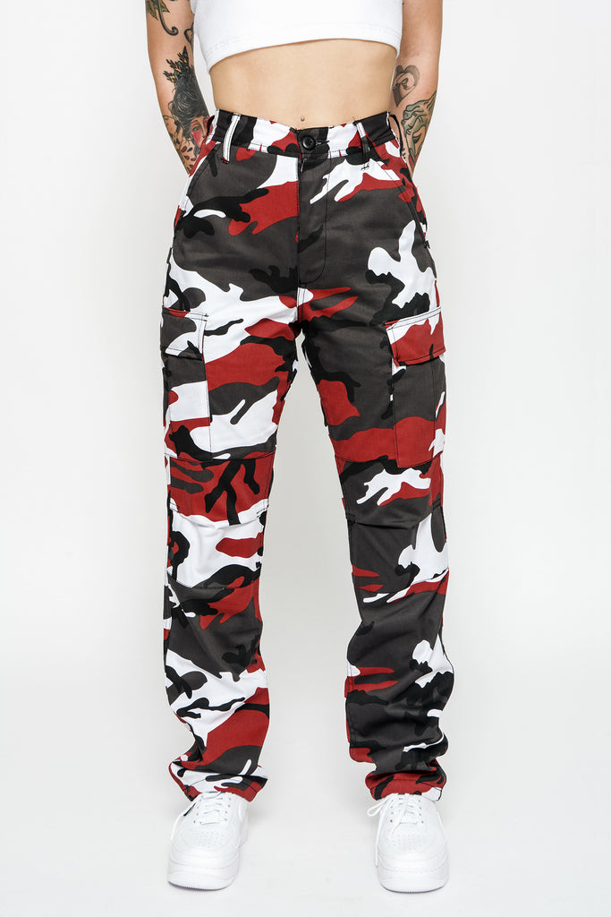 Cherry Red Camo Cargo Pants
