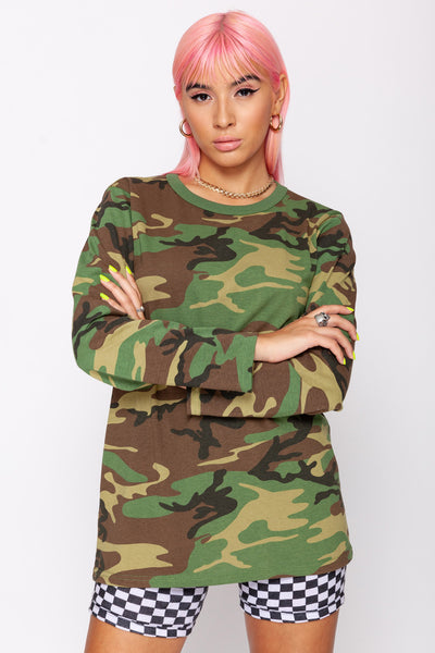 Woodland Camo Long Sleeve Tee